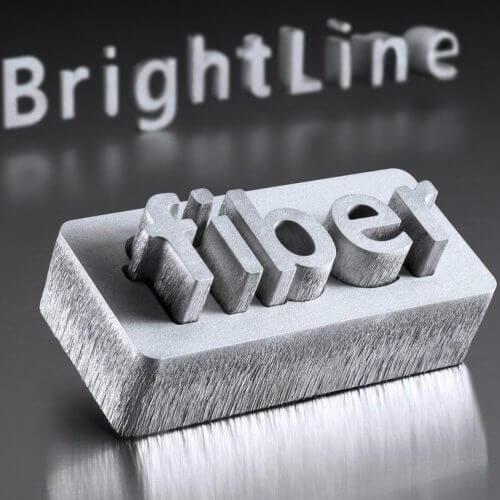 Schriftzug Fiber nach der Laserbearbeitung