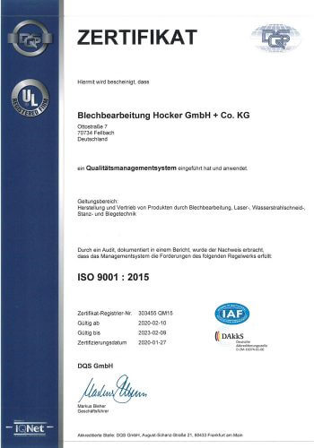 Zertifikat Qualitätsmanagement DIN EN ISO 9001